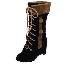 AIYOUMEI Damen Nubukleder Herbst Winter Keilabsatz Halb Stiefel mit Schnürung und 6cm Absatz Bequem Schnürstiefeletten Mid Calf Boots