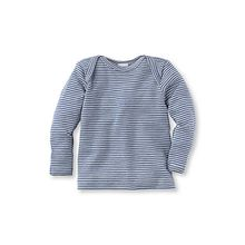 Baby Langarmhemd, Organic Wool blau