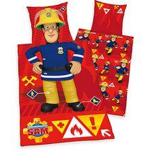 Kinderbettwäsche Feuerwehrmann Sam, Renforcé, 80 x 80 cm + 135 x 200 cm rot