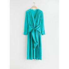 Scarf Tie Flowy Midi Dress - Turquoise