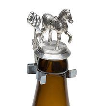 Schnabel-Schmuck Pferd Bierflaschen Zinndeckel mit Zinnfigur
