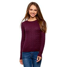 oodji Collection Damen Strickpullover mit Zopfmuster, Violett, DE 42 / EU 44 / XL
