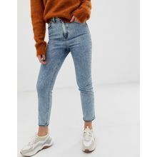 ASOS DESIGN - Farleigh - Schmale Mom-Jeans in Acid-Waschung im Stil der 80er mit hohem Bund - Blau