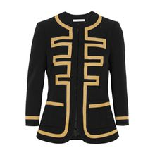 Bestickte Jacke aus schwarzer Wolle