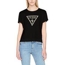 Guess Damen T-Shirt SS RN Triangle Studs, Schwarz (Jet Black A996), Medium