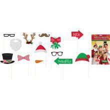 Amscan Fotorequisitenset Weihnachten, 13-tlg. rot/grün