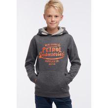 Petrol Industries Sweater grau / dunkelgrau / dunkelorange