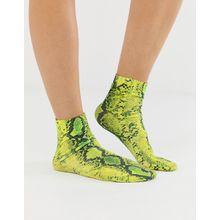 ASOS DESIGN - Knöchelsocken mit neongelbem Schlangenhautmuster - Gelb
