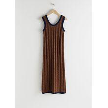 Cotton Geometric Micro Knit Dress - Blue