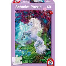 Puzzle, 60 Teile, 36x24 cm, Einhorn im verzauberten Garten