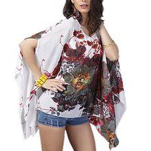 Top One Damen mit Blumen Chiffon Blusen lange Hieb Hülsen Hemd Oberseiten