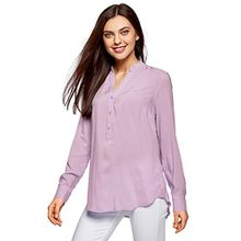 oodji Collection Damen Viskose-Bluse Basic, Violett, DE 34 / EU 36 / XS