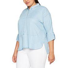 Ulla Popken Große Größen Damen Bluse Hemdbluse mit Halber Knopfleiste Blau (Bleached 92), 50 (Herstellergröße: 50+)