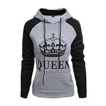 Tomwell King Queen Aufdruck Sweatshirt Pärchenpullover Set Hoodie mit Kaiserkrone Hoodie Damen Herren Kapuzenpullover mit Tasche B Queen Grau EU XS