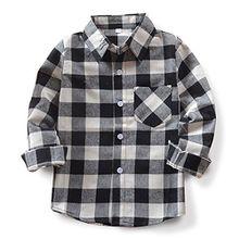 OCHENTA Hemden Jungen Langarm Plaid Kariert Freizeithemd E004 Schwarz Weiß Asiatisch 130cm-(De 124cm)