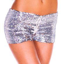 YiZYiF Damen Pailletten Shorts Elastische Shorty reizvolle Glitzer Party Tanz Kurz Hosen Club Tanz Kostüm Silber One Size