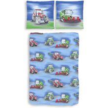 Kinderbettwäsche Traktor, Biber, blau, 135 x 200 cm