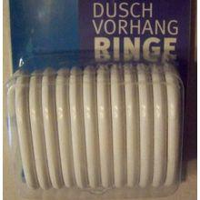 12 Duschvorhang-Ringe, weiß, Kunststoff, offen