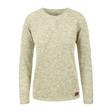 Blend She Daniela Damen Strickpullover Feinstrick Pullover Mit Rundhals Und Melierung, Größe:S, Farbe:Bone White (70016)