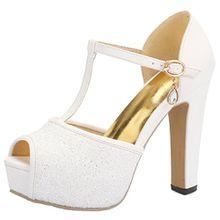 AIYOUMEI Damen Glitzer Peep Toe Knöchelriemchen T-Spangen Sandalen mit Schnalle Blockabsatz High Heels Plateau Schuhe