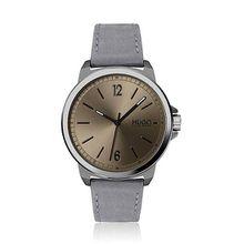 Uhr mit gebürstetem, kaffeefarbenem Zifferblatt und Nubukleder-Armband