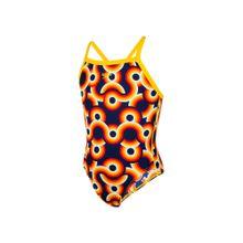 SPEEDO Badeanzug 'Sapphire Shine' dunkelblau / gelb / orange / rot / weiß