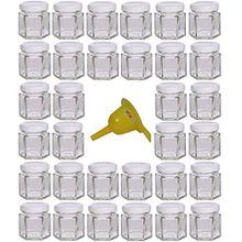 Viva Haushaltswaren 32 x Mini Einmachglas 47 ml mit weißem Deckel, sechseckige Glasdosen als Marmeladengläser, Gewürzdosen, Gastgeschenk etc. verwendbar (inkl. Trichter Ø 12,3 cm)
