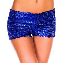 YiZYiF Damen Pailletten Shorts Elastische Shorty reizvolle Glitzer Party Tanz Kurz Hosen Club Tanz Kostüm Blau One Size