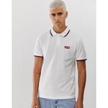 Levi's - Modern - Weißes Pikee-Polohemd mit Kontraststreifen und Batwing-Logoaufnäher - Weiß