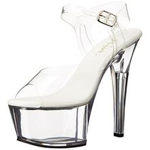 Pleaser Damen Aspire-608 Plateausandalen, Transparent (Transparent), 37 EU