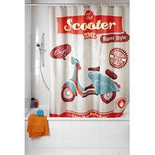 Wenko 21586100 Anti-Schimmel Duschvorhang Vintage Scooter - waschbar, 100% Polyester, Mehrfarbig