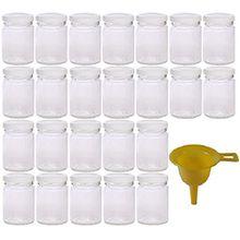 Viva Haushaltswaren 24 x kleines Einmachglas 106 ml mit weißem Deckel, runde Glasdosen als Marmeladengläser, Gewürzdosen, Gastgeschenk etc. verwendbar (inkl. Trichter)