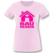 Luckja Bauherrin | Ideales Geschenk auch als Kombination für de Bauherrn | Damen T-Shirt Rosa-Neonpink Grösse M