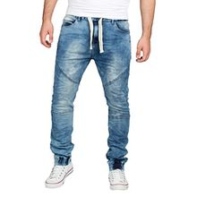 Sublevel Herren Sweat-Hose in Jeans-Optik | Skinny Jogg-Pants mit Gummibund im Denim Style | Straight Leg | Used Look | Die Revolution der Jogging-Hose für den Mann! dark blue 28/34
