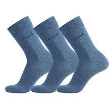 bugatti Basic Mens Socks 3er Pack 6703 434 lt. denim melange blau Strumpf Socken, Größe:43-46