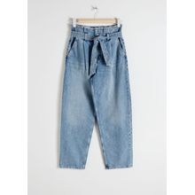 High Belted Organic Cotton Jeans - Blue