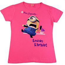 Mädchen T-shirt - Minions Shirt erhältlich in vers. Farben (rosa und lila) und Größen (122, 134, 146) (146, Rosa)