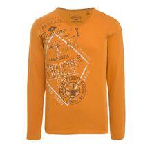 CAMP DAVID Longsleeve mit Frontprint Langarmshirts orange Herren