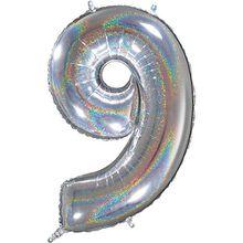 Folienballon Zahl 9 silber holographisch 26 inch