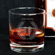 Personalisierbares Whisky Glas zum 18. Geburtstag