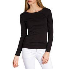 Caspar SRT024 figurfreundliches Damen Langarm Shirt, Farbe:Schwarz;Größe:L
