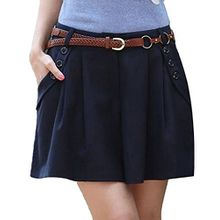 Minetom Damen Maedchen Elegant Hot Kurz Hosenrock Shorts OL Pants Hose Stoffhose Business Blau EU XL