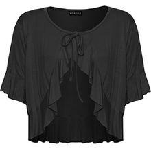 WearAll - Damen Übergröße Rüsche Binden Elastisch Kurzarm V-Ausschnitt Cardigan Top - Schwarz - 52-54