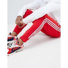 adidas Originals - Rote, enge Jogginghose mit 3er Streifen und Bündchen - DH5837 - Rot