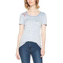 TAIFUN Damen T-Shirt 1/2 Arm, Mehrfarbig (Parisian Blue Druck 8008), 36