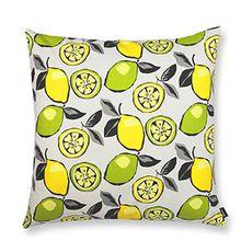 Kissenhülle mit Zitronen/Limetten Mojito 40 x 40 cm - auf bedruckter Baumwollle - trendy,witzig - ideal für drinnen und draußen - Dekokissenbezug, Sommerkissenhülle