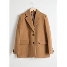 Wool Blend Oversized Blazer - Brown