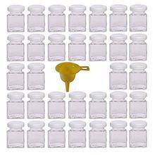 Viva Haushaltswaren 32 x Mini Marmeladenglas/Gewürzglas 50 ml mit weißem Schraubverschluss, Gläser Set mit Deckel für Gewürze, Konfitüre, Salz etc. verwendbar (inkl. Trichter)