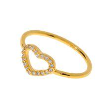 Herz Ring mit Zirkonia Steinen, 18 K Gelbgold vergoldet