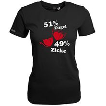 51% ENGEL - 49 % ZICKE- Schwarz - WOMEN T-SHIRT by Jayess Gr. L